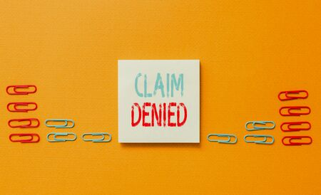 Word writing text Claim Denied. Business photo showcasing Requested reimbursement payment for bill has been refused Colored blank sticky note clips gathered trendy cool pastel background