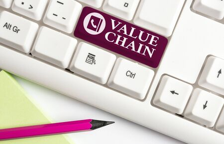 Word writing text Value Chain. Business photo showcasing Business analysisufacturing process Industry development analysis White pc keyboard with empty note paper above white background key copy space