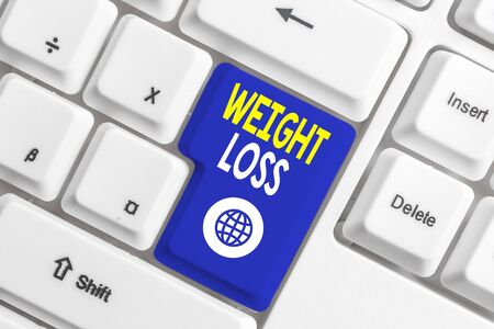 Writing note showing Weight Loss. Business concept for Decrease in Body Fluid Muscle Mass Reduce Fat Dispose Tissue White pc keyboard with note paper above the white background