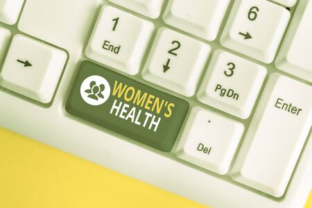 Word writing text Women S Health. Business photo showcasing Women s is physical health consequence avoiding illness White pc keyboard with empty note paper above white background key copy space 版權商用圖片