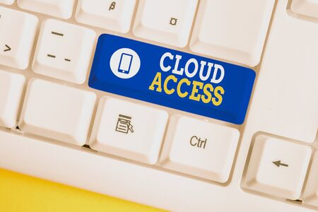 Handwriting text Cloud Access. Conceptual photo Software tool between the organization and the provider White pc keyboard with empty note paper above white background key copy space