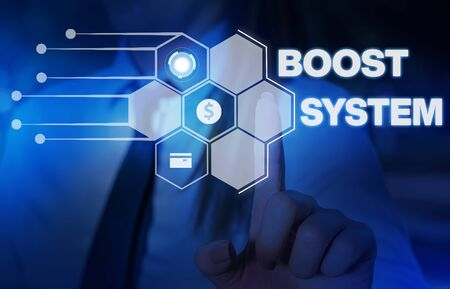 Word writing text Boost System. Business photo showcasing Rejuvenate Upgrade Strengthen Be Healthier Holistic approach Woman wear formal work suit presenting presentation using smart device Zdjęcie Seryjne