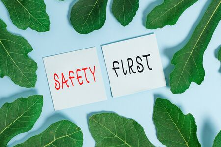 Handwriting text writing Safety First. Conceptual photo Avoid any unnecessary risk Live Safely Be Careful Pay attention