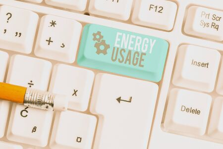 Writing note showing Energy Usage. Business concept for Amount of energy consumed or used in a process or system White pc keyboard with note paper above the white background