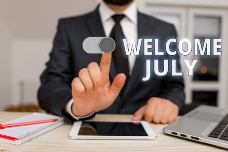 Writing note showing Welcome July. Business concept for Calendar Seventh Month 31days Third Quarter New Season Banco de Imagens