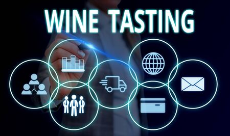 Handwriting text Wine Tasting. Conceptual photo Degustation Alcohol Social gathering Gourmet Winery Drinking Woman wear formal work suit presenting presentation using smart device