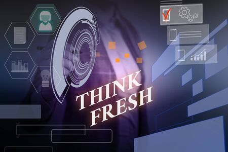 Word writing text Think Fresh. Business photo showcasing Thinking on natural ingredients Positive good environment Woman wear formal work suit presenting presentation using smart device