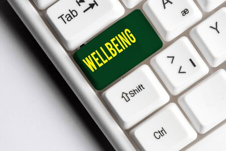 Handwriting text writing Wellbeing. Conceptual photo A good or satisfactory condition of existence including health White pc keyboard with empty note paper above white background key copy space Zdjęcie Seryjne