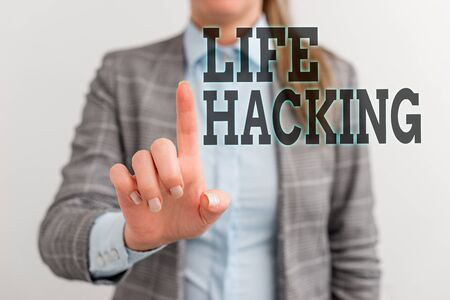 Word writing text Life Hacking. Business photo showcasing Simple and clever techniques in accomplishing task easily Digital business concept with business woman