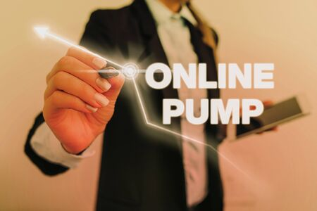 Text sign showing Online Pump. Business photo text device which moves liquid from lower level to higher one