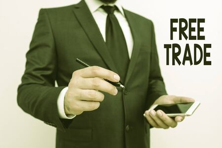 Word writing text Free Trade. Business photo showcasing The ability to buy and sell on your own terms and means Stock Photo