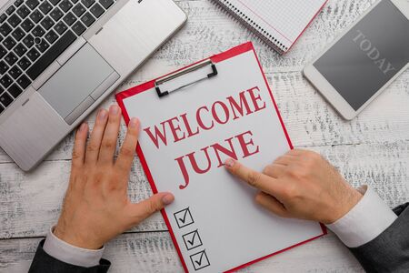 Handwriting text Welcome June. Conceptual photo Calendar Sixth Month Second Quarter Thirty days Greetings Фото со стока
