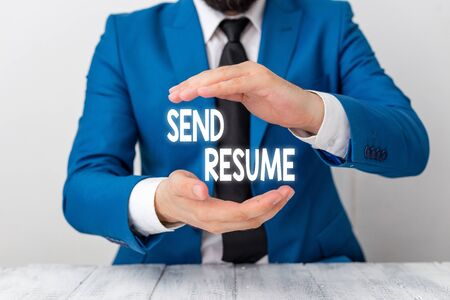 Writing note showing Send Resume. Business concept for brief account demonstratings education qualifications and occupations Man holds empty paper with copy space in front of him Space