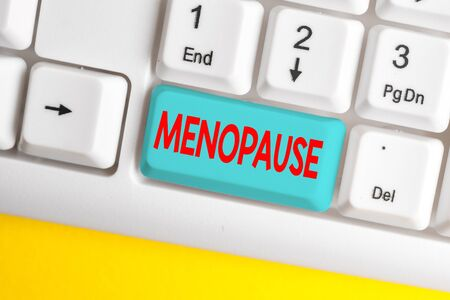 Word writing text Menopause. Business photo showcasing Period of peranalysisent cessation or end of menstruation cycle White pc keyboard with empty note paper above white background key copy space