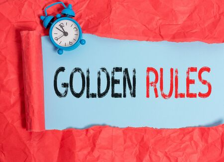 Word writing text Golden Rules. Business photo showcasing Basic principle that should be followed Important Principle