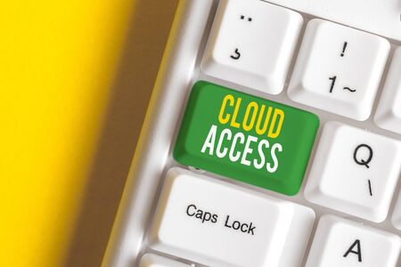 Handwriting text writing Cloud Access. Conceptual photo Software tool between the organization and the provider White pc keyboard with empty note paper above white background key copy space Фото со стока