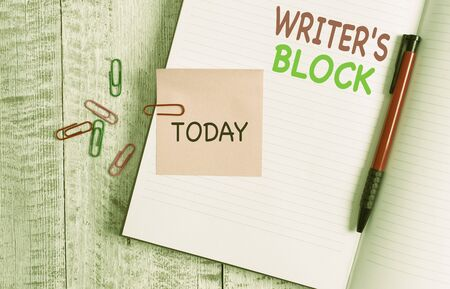 Handwriting text Writer S Block. Conceptual photo Condition of being unable to think of what to write Thick pages notebook stationary placed above classic look wooden backdrop