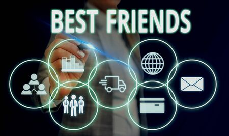 Handwriting text Best Friends. Conceptual photo A demonstrating you value above other demonstratings Forever buddies Woman wear formal work suit presenting presentation using smart device