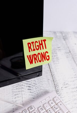 Word writing text Right Wrong. Business photo showcasing choose between two decisions correct and bad one to make Notation paper taped to black computer monitor screen near white keyboard