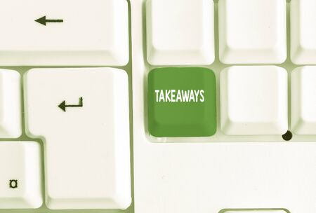 Conceptual hand writing showing Takeaways. Concept meaning An act or instance of giving something from you to someone White pc keyboard with note paper above the white background