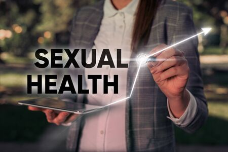 Word writing text Sexual Health. Business photo showcasing Healthier body Satisfying Sexual life Positive relationships Zdjęcie Seryjne