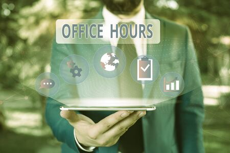 Handwriting text Office Hours. Conceptual photo The hours which business is normally conducted Working time Male human wear formal work suit presenting presentation using smart device