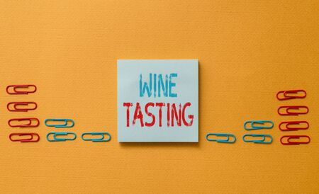 Word writing text Wine Tasting. Business photo showcasing Degustation Alcohol Social gathering Gourmet Winery Drinking Colored blank sticky note clips gathered trendy cool pastel background