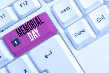 Conceptual hand writing showing Memorial Day. Concept meaning To honor and remembering those who died in military service White pc keyboard with note paper above the white background