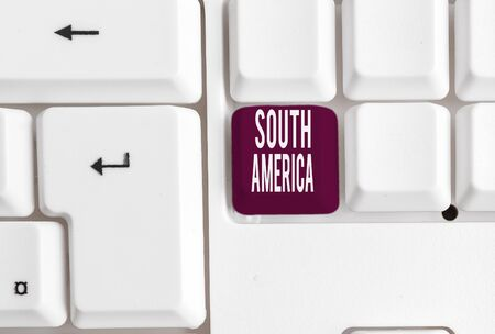 Writing note showing South America. Business concept for Continent in Western Hemisphere Latinos known for Carnivals White pc keyboard with note paper above the white background