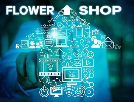 Writing note showing Flower Shop. Business concept for where cut flowers are sold with decorations for gifts Woman wear formal work suit presenting presentation using smart device
