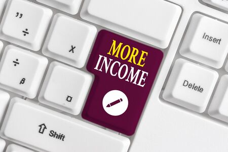 Handwriting text writing More Income. Conceptual photo Additional money receives for an exchange of good or services White pc keyboard with empty note paper above white background key copy space