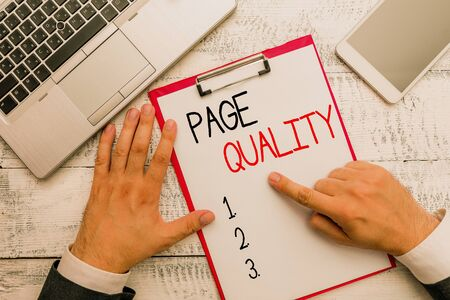 Writing note showing Page Quality. Business concept for Effectiveness of a website in terms of appearance and function