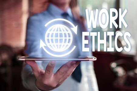 Word writing text Work Ethics. Business photo showcasing A set of values centered on the importance of doing work Stok Fotoğraf