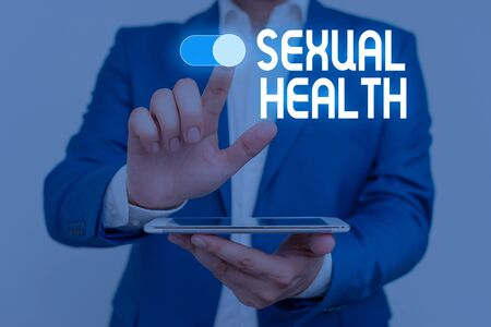 Word writing text Sexual Health. Business photo showcasing Healthier body Satisfying Sexual life Positive relationships Male human wear formal work suit presenting presentation using smart device