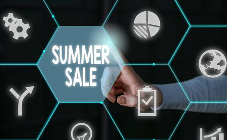 Word writing text Summer Sale. Business photo showcasing Annual discount events that takes place during summer season Male human wear formal work suit presenting presentation using smart device