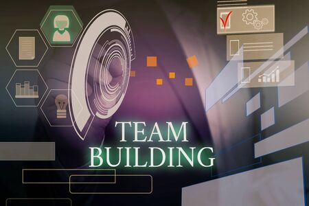 Writing note showing Team Building. Business concept for Types of activities used to enhance social relations Male wear formal suit presenting presentation smart device Stock Photo