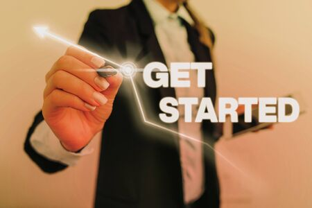 Text sign showing Get Started. Business photo text asking someone to begin task endeavour or process right now