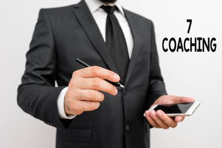 Word writing text 7 Coaching. Business photo showcasing Refers to a number of figures regarding business to be succesful