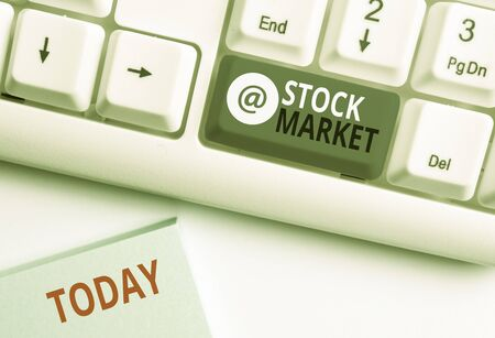 Word writing text Stock Market. Business photo showcasing Particular market where stocks and bonds are traded or exhange White pc keyboard with empty note paper above white background key copy space Reklamní fotografie