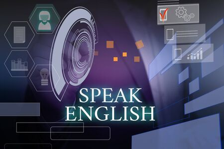 Writing note showing Speak English. Business concept for Study another Foreign Language Online Verbal Courses Male wear formal suit presenting presentation smart device Stok Fotoğraf