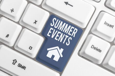 Conceptual hand writing showing Summer Events. Concept meaning Celebration Events that takes place during summertime White pc keyboard with note paper above the white background Foto de archivo - 130154980
