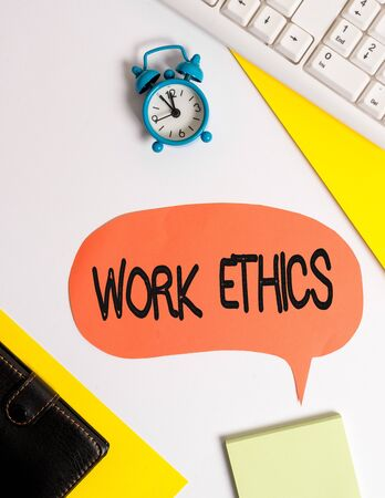 Word writing text Work Ethics. Business photo showcasing A set of values centered on the importance of doing work Flat lay with copy space on bubble paper clock and paper clips