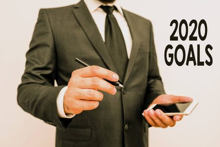 Word writing text 2020 Goals. Business photo showcasing A plan to do for something new and better for the coming year