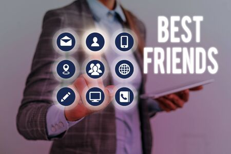 Writing note showing Best Friends. Business concept for A demonstrating you value above other demonstratings Forever buddies Imagens