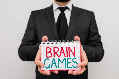 Conceptual hand writing showing Brain Games. Concept meaning psychological tactic to analysisipulate or intimidate with opponent Фото со стока - 139632857