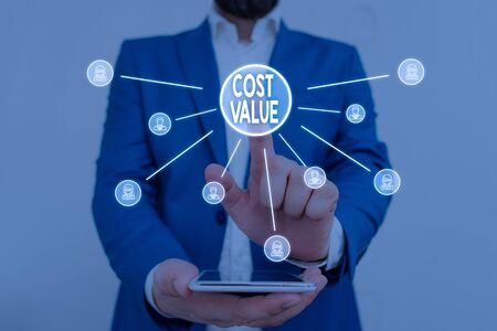 Text sign showing Cost Value. Business photo showcasing The amount that usualy paid for a item you buy or hiring a demonstrating Male human wear formal work suit presenting presentation using smart device Standard-Bild