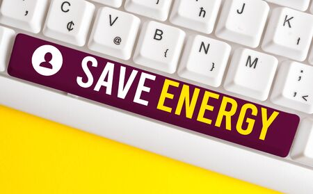 Word writing text Save Energy. Business photo showcasing decreasing the amount of power used achieving a similar outcome White pc keyboard with empty note paper above white background key copy space Stok Fotoğraf