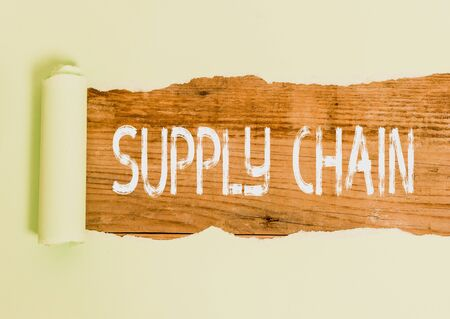 Text sign showing Supply Chain. Business photo text System of organization and processes from supplier to consumer Foto de archivo - 130154835