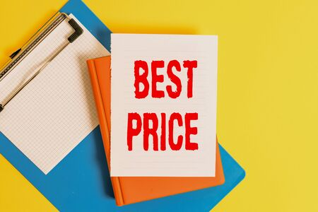 Word writing text Best Price. Business photo showcasing Buyer or seller can obtain something for a product sold or buy Pile of empty papers with copy space on the table