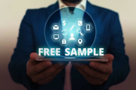Text sign showing Free Sample. Business photo showcasing portion of products given to consumers in shopping malls Foto de archivo - 130154713